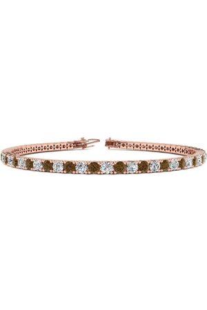 SuperJeweler 9 Inch 5 Carat Chocolate Bar Brown Champagne & White Diamond Men's Tennis Bracelet in 14K Rose (12.1 g), J/K