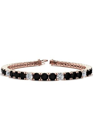 SuperJeweler 7.5 Inch 9 3/4 Carat Black & White Diamond Alternating Men's Tennis Bracelet in 14K Rose (12.9 g), I/J