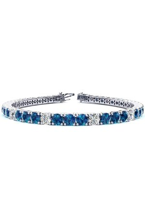 SuperJeweler 7.5 Inch 9 3/4 Carat Blue & Diamond Alternating Men's Tennis Bracelet in 14K (12.9 g), I/J