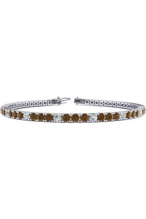 SuperJeweler 7.5 Inch 4 1/4 Carat Chocolate Bar Brown Champagne & Diamond Alternating Men's Tennis Bracelet in 14K (10.1 g), J/K