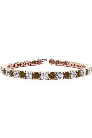 SuperJeweler 9 Inch 11 3/4 Carat Chocolate Bar Brown Champagne & White Diamond Men's Tennis Bracelet in 14K Rose (15.4 g), I/J
