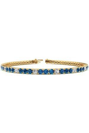 SuperJeweler 9 Inch 5 Carat Blue & White Diamond Alternating Men's Tennis Bracelet in 14K (12.1 g), J/K
