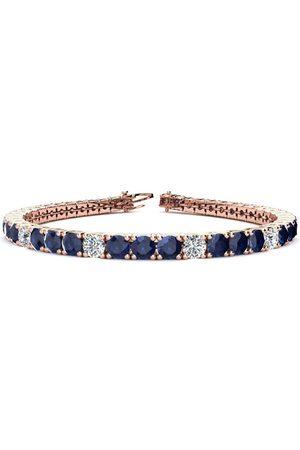 SuperJeweler 8 Inch 13 3/4 Carat Sapphire & Diamond Alternating Men's Tennis Bracelet in 14K Rose (13.7 g), I/J