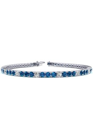 SuperJeweler 8.5 Inch 4 3/4 Carat Blue & Diamond Alternating Men's Tennis Bracelet in 14K (11.4 g), J/K