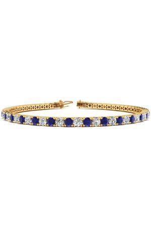 SuperJeweler 7.5 Inch 3 1/2 Carat Sapphire & Diamond Men's Tennis Bracelet in 14K (10 g), J/K