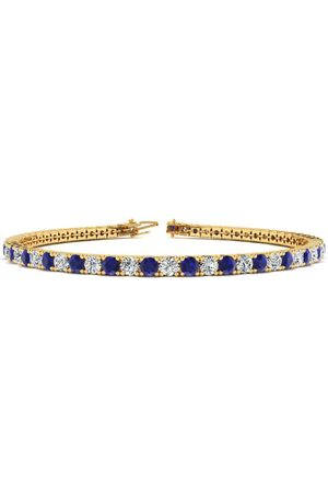 SuperJeweler 9 Inch 6 Carat Sapphire & Diamond Men's Tennis Bracelet in 14K (12.1 g), J/K