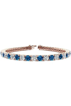 SuperJeweler 7.5 Inch 9 3/4 Carat Blue & White Diamond Men's Tennis Bracelet in 14K Rose (12.9 g), I/J