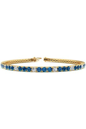 SuperJeweler 7.5 Inch 4 1/4 Carat Blue & White Diamond Alternating Men's Tennis Bracelet in 14K (10.1 g), J/K