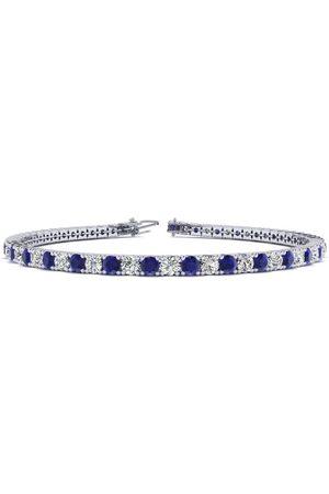 SuperJeweler 8.5 Inch 4 Carat Sapphire & Diamond Men's Tennis Bracelet in 14K (11.3 g), J/K