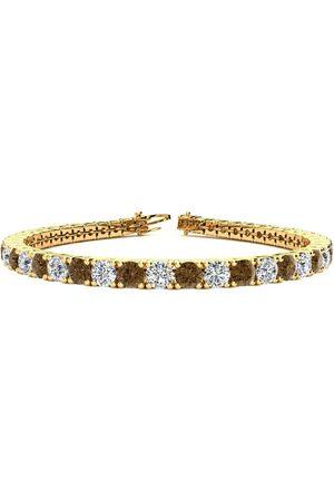 SuperJeweler 7.5 Inch 9 3/4 Carat Chocolate Bar Brown Champagne & White Diamond Men's Tennis Bracelet in 14K (12.9 g), I/J