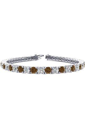 SuperJeweler 8 Inch 10 1/2 Carat Chocolate Bar Brown Champagne & Diamond Men's Tennis Bracelet in 14K (13.7 g), I/J