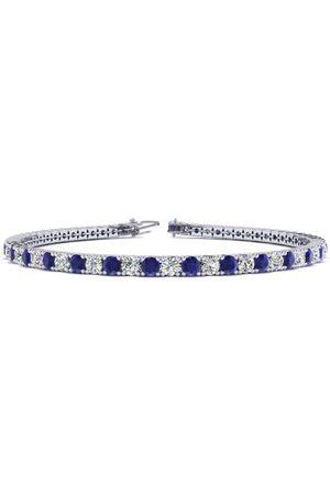 SuperJeweler 7.5 Inch 5 Carat Sapphire & Diamond Men's Tennis Bracelet in 14K (10.1 g), J/K