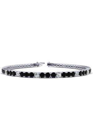 SuperJeweler 8 Inch 4 1/2 Carat Black & Diamond Alternating Men's Tennis Bracelet in 14K (10.7 g), J/K