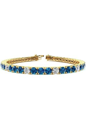 SuperJeweler 7.5 Inch 9 3/4 Carat Blue & White Diamond Alternating Men's Tennis Bracelet in 14K (12.9 g), I/J