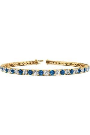 SuperJeweler 9 Inch 5 Carat Blue & White Diamond Men's Tennis Bracelet in 14K (12.1 g), J/K