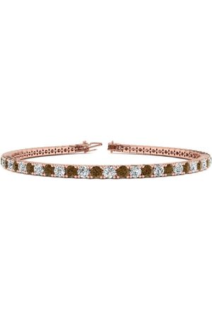 SuperJeweler 7.5 Inch 4 1/4 Carat Chocolate Bar Brown Champagne & White Diamond Men's Tennis Bracelet in 14K Rose (10.1 g), J/K