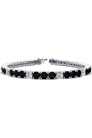 SuperJeweler 9 Inch 11 3/4 Carat Black & Diamond Alternating Men's Tennis Bracelet in 14K (15.4 g), I/J