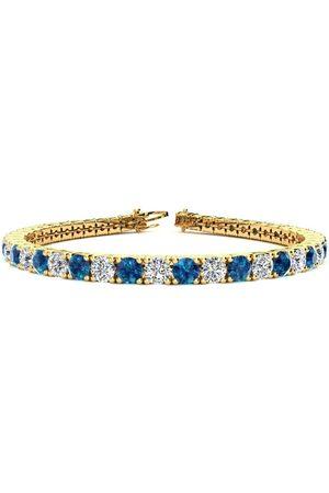 SuperJeweler 9 Inch 11 3/4 Carat Blue & White Diamond Men's Tennis Bracelet in 14K (15.4 g), I/J