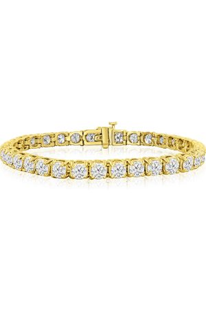 SuperJeweler 7.5 Inch 14K 9 3/4 Carat TDW Round Diamond Men's Tennis Bracelet (J-K, I2-I3)