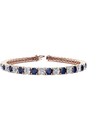 SuperJeweler 8.5 Inch 13 1/2 Carat Sapphire & Diamond Men's Tennis Bracelet in 14K Rose (14.6 g), I/J