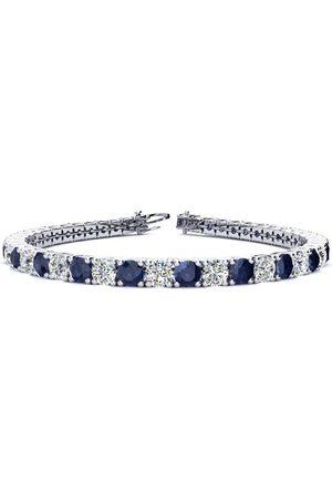 SuperJeweler 8 Inch 12 3/4 Carat Sapphire & Diamond Men's Tennis Bracelet in 14K (13.7 g), I/J