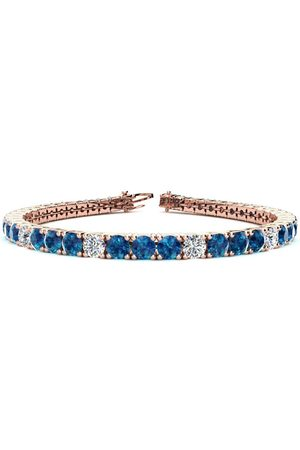 SuperJeweler 8.5 Inch 11 1/5 Carat Blue & White Diamond Alternating Men's Tennis Bracelet in 14K Rose (14.6 g), I/J