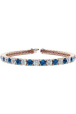 SuperJeweler 9 Inch 11 3/4 Carat Blue & White Diamond Men's Tennis Bracelet in 14K Rose (15.4 g), I/J