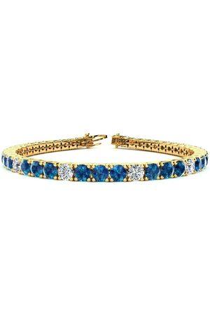 SuperJeweler 8.5 Inch 11 1/5 Carat Blue & White Diamond Alternating Men's Tennis Bracelet in 14K (14.6 g), I/J
