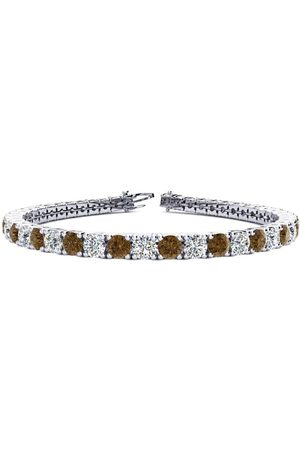 SuperJeweler 7.5 Inch 9 3/4 Carat Chocolate Bar Brown Champagne & Diamond Men's Tennis Bracelet in 14K (12.9 g), I/J