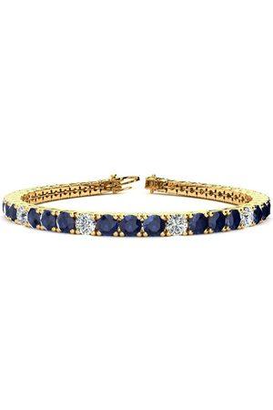 SuperJeweler 9 Inch 15 1/2 Carat Sapphire & Diamond Alternating Men's Tennis Bracelet in 14K (15.4 g), I/J