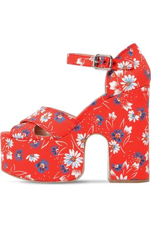Miu Miu 125mm Printed Cotton Platform Sandals