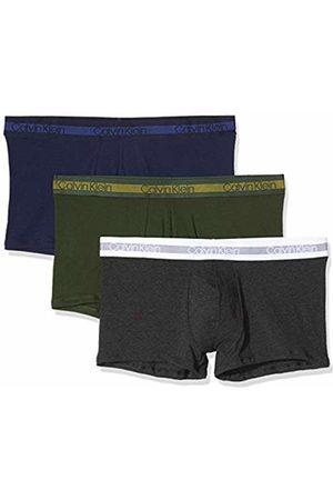 Calvin Klein Men's 3pk Swim Trunks, (Peacoat/Charcoal H/Duffel Bag NXB)