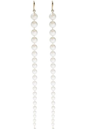 Mizuki 14kt yellow Akoya pearl strand diamond earrings