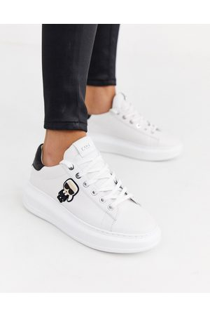 Karl Lagerfeld Leather platform sole trainers with black trim