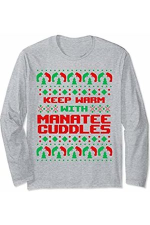 Ugly Christmas Tees by K Ugly Christmas Manatee Gift Party Snuggles Funny Women Her Long Sleeve T-Shirt