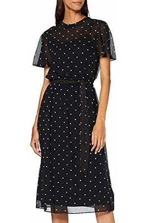 Dorothy Perkins Women's Blk Spot Belted Ff Party Dress