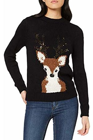 Dorothy Perkins Women's Sequin Antler Reindeer Jumper