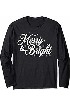 Merry Christmas Gift for Her Secret Santa Gift Women Merry and Bright Christmas TShirt Cute Holiday Spirit Long Sleeve T-Shirt