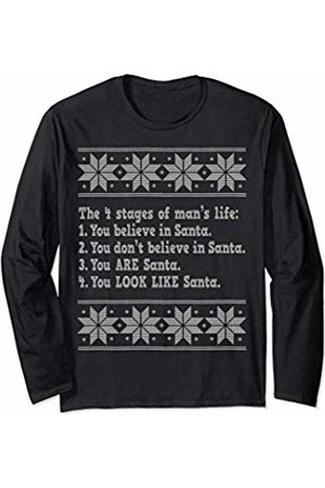 DW Christmas Holiday 2019 The 4 Stages of Man's Life Funny Christmas Santa Long Sleeve T-Shirt
