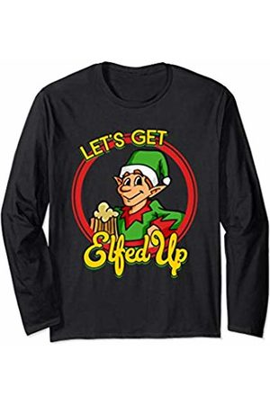 IMPURITEEZ Funny Naughty Let's Get Elfed Up Adult Christmas Long Sleeve T-Shirt