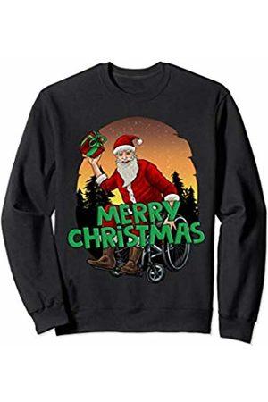 Santa Claus Christmas Tees NYC Wheelchair Santa Merry Christmas Handicap Cool Kids Holiday Sweatshirt