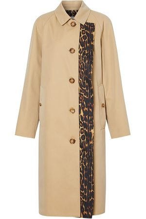 Burberry Leopard print trim trench coat - NEUTRALS