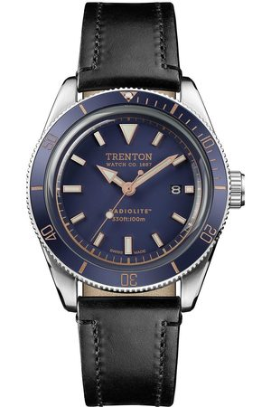 INGERSOLL 1892 Trenton Limited Edition Swiss Made Blue And Rose Gold Detail Date Dial Black Leather Strap Watch
