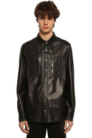 Neil Barrett Leather Shirt Jacket W/ Jersey Panel