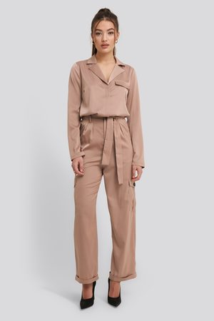 NA-KD Satin Lounge Pants - Beige