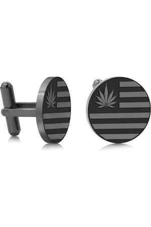 SuperJeweler Cannabis Leaf Flag Cufflinks, Gunmetal