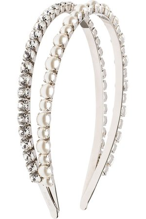 Miu Miu Embellished double hairband - Metallic