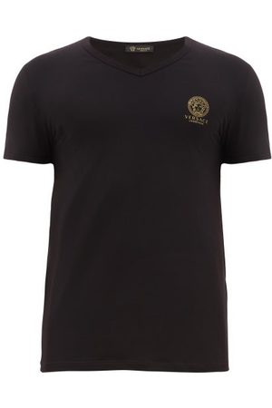 VERSACE Men T-shirts - Medusa-logo V-neck Cotton-blend T-shirt - Mens