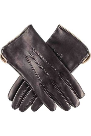 Black Men Gloves - Men's and Taupe Leather Gloves - Cashmere Lined