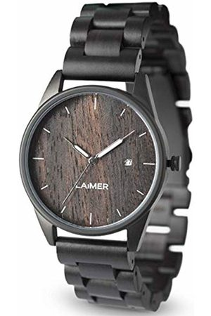 Laimer Wood watch SASCHA - mens wristwatch made of Ebony wood and stainless steel case - nature & luxury lifestyle